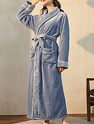 cheap -Women's Plus Size Warm Robes Gown Bathrobes Home Party Daily Spa Modern Style Pure Color Polyester Plush Simple Casual Soft Fall Winter V Wire Long Sleeve Lace Up Belt Included