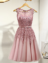 cheap -A-Line Jewel Neck Knee Length Lace / Tulle Bridesmaid Dress with Pleats / Appliques