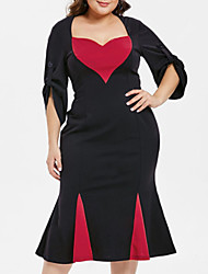 cheap -Women's Plus Size Dress Sheath Dress Knee Length Dress 3/4 Length Sleeve Heart Modern Style Patchwork Elegant Fall Spring Black XL XXL XXXL 4XL