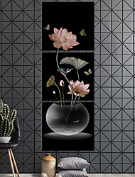 cheap -3 Panels Wall Art Canvas Prints Painting Artwork Picture Plant Floral Lotus Home Decoration Decor Rolled Canvas No Frame Unframed Unstretched