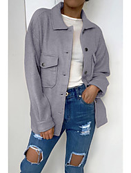 cheap -Women's Jacket Causal Daily Holiday Fall Winter Short Coat Regular Fit Warm Basic Casual Jacket Long Sleeve Solid Color Pocket No bad reviews on platform sales! ! ! High-quality fabric layout