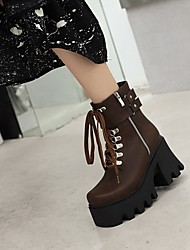 cheap -Women's Boots Platform Round Toe Booties Ankle Boots Daily Work PU Synthetics Rivet Lace-up Yellow Black Brown / Booties / Ankle Boots