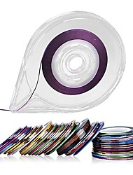 cheap -30 Colors Striping Tape Line Nail Art Decoration Stickers Free Tape Roller Dispenser