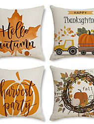 cheap -Thanksgiving Double Side Cushion Cover 4PC Soft Decorative Square Throw Pillow Cover Cushion Case Pillowcase for Bedroom Livingroom Superior Quality Machine Washable Indoor Cushion for Sofa Couch Bed Chair Pumpkin Wreath Fall