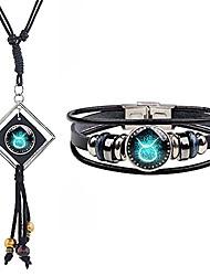 cheap -2psc tassel zodiac necklace bracelet set for women men glass bead necklace 12 constellation leather bracelet astrology bracelet zodiac sign jewelry gifts