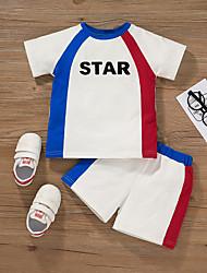 cheap -Kid's Boys' T-shirt & Shorts 2 Pieces Short Sleeve White Multi Color Texture Cotton Chic & Modern