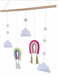 cheap -kids room felt cloud wall hanging decor rainbow wall decoration for baby girl boy room decor(pink system)