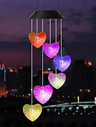 cheap -LED Solar Wind Chime Light Butterfly Hummingbird Snowball Heart Shape Wind Chime Lamp Color Changing Hanging Light Garden Solar Lamp Courtyard Decorative