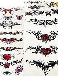 cheap -6 Pcs Girls Bracelet Chains Rose Tattoo Stickers Butterfly Body Arm Totem Tattoos Temporary Women Wrist Sexy Black Fake Tatoos