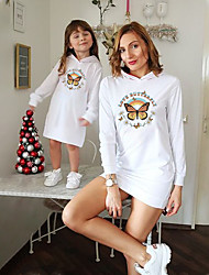 cheap -Dresses Mommy and Me Floral Butterfly Letter Daily Print White Long Sleeve Above Knee Daily Matching Outfits / Fall / Winter / Cute