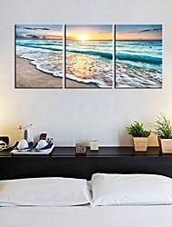 cheap -3 Panels Wall Art Canvas Prints Painting Artwork Picture landscape Sea Beach Home Decoration Decor Rolled Canvas No Frame Unframed Unstretched