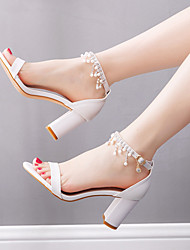 cheap -Women's Wedding Shoes Chunky Heel Open Toe Wedding Daily Faux Leather Rhinestone Pearl Solid Colored White