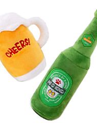 cheap -Dog Squeaky Plush Toys Set - Puppy Chew Toy -2 Pack Cute Stuffed Plush Beer Mug Bottle Toy for Puppy Small Medium Dogs