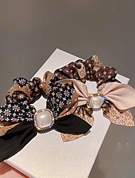 cheap -3 PCS Fashion Simple Personality Hair Rope Inlaid With Diamond Pearl Bow Large Intestine Hair Circle Temperament Design Sense Hair Accessories