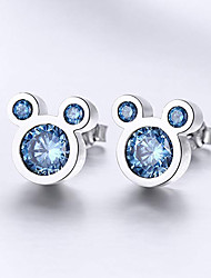 cheap -Women's AAA Cubic Zirconia Earrings Classic Mini Stylish Anime Korean Hippie Cute Platinum Plated Gold Plated Earrings Jewelry Blue For Wedding Daily 1 Pair