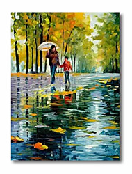 cheap -Oil Painting Handmade Hand Painted Wall Art Abstract Mother Kids in Rain 3D Palette Knife Home Decoration Decor Stretched Frame Ready to Hang