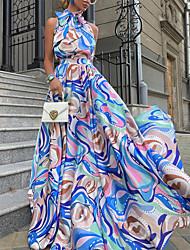 cheap -Women's A Line Dress Maxi long Dress Blue Sleeveless Abstract Print Fall Summer Halter Neck Casual 2021 S M L XL XXL 3XL