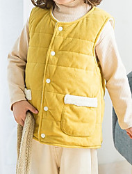 cheap -Kids Unisex Jacket & Coat 1pc Skin powder Coffee brown Shallow gouache Solid Color Daily Wear Casual Daily 2-6 Years