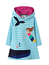 cheap -Kid's Little Girls' Dress Cartoon Stripes Unicorn 7796# Long Sleeve Basic Chic & Modern Cute Dresses