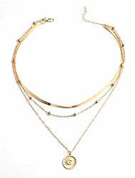 cheap -radiate sunshine multilayer necklace, emotional and heartfelt necklace, stylish plated alloy neck pendant choker jewelry gift for women golden/slivery (gold)