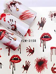 cheap -10 pcs Halloween Nail Sticker Water Self Adhesive Nail Art Tattoo Big Lips/palms Decals for DIY Decor Wraps