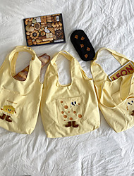 cheap -Canvas Shoulder storage bag back to school Halloween goody bag yellow cute cartoon portable grocery shopping cloth book tote   35*33 cm