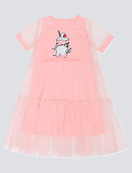 cheap -Kids Little Girls' Dress Solid Color Pink ice cream White ice cream Short Sleeve Fashion Cute Dresses Summer