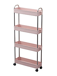 cheap -4 Tier Slim Storage Cart Mobile Shelving Unit Organizer Slide Out Storage Rolling Utility Cart Tower Rack with Handles for Kitchen Bathroom Laundry Narrow Places