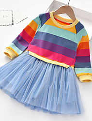 cheap -Kids Toddler Little Girls' Dress Rainbow colour Tulle Dress Daily Holiday Mesh Blue Blushing Pink Cotton Above Knee Long Sleeve Beautiful Cute Dresses Fall Spring Loose 3-12 Years