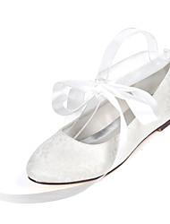 cheap -Women's Wedding Shoes Flat Heel Round Toe Wedding Flats Wedding Lace Ribbon Tie Floral Light Purple Ivory White