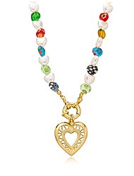 cheap -women beaded pearl heart necklace - 18k gold choker handmade colorful chunky bohemian seed beaded pendant jewelry for girls ladies