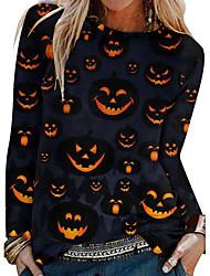 cheap -Women's Halloween Abstract Painting T shirt Graphic Pumpkin Long Sleeve Print Round Neck Basic Halloween Tops Black / 3D Print
