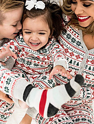 cheap -Christmas Pajamas Family Look Polyester Deer Christmas Tree Casual Print White Long Sleeve Active Matching Outfits / Fall / Winter / Machine wash / Micro-elastic / Daily Wear