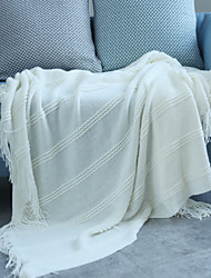 cheap -Wholesale Nordic Art Pinstripe Knitting Sofa Blanket Air Conditioning Cover Blanket Bed Decoration Spring And Summer Nap Blanket Plain Color Special Offer 130*170cm