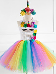 cheap -Princess Fairytale Unicorn Dress Cosplay Costume Party Costume Girls' Movie Cosplay Tutus Plaited Yellow Rainbow Dress Headwear Christmas Halloween Children's Day Polyester