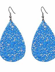 cheap -teardrop pu leather earrings sequins glitter earrings lightweight petal leaf drop earrings,sky blue