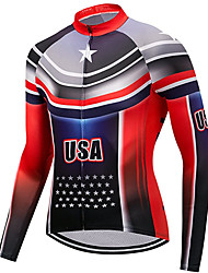 cheap -21Grams Men's Long Sleeve Cycling Jersey Spandex Polyester Red+Blue American / USA Funny Bike Top Mountain Bike MTB Road Bike Cycling Quick Dry Moisture Wicking Breathable Sports Clothing Apparel