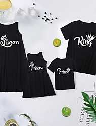 cheap -Family Sets Family Look Cotton Letter Daily Print Black Sleeveless Knee-length Tank Dress Basic Matching Outfits / Summer / Long / Cute