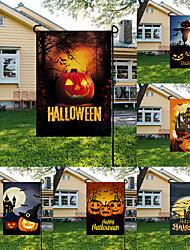 cheap -halloween garden flag custom 2021 cartoon pumpkin head printing linen flag party garden decoration flag