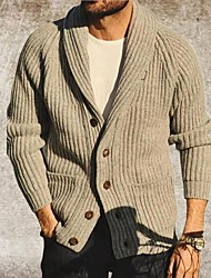 cheap -Men's Unisex Cardigan Knitted Solid Color Stylish Vintage Style Long Sleeve Sweater Cardigans V Neck Fall Winter Large amount of spot long-term supply Khaki