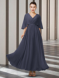 cheap -A-Line Mother of the Bride Dress Elegant V Neck Ankle Length Chiffon Half Sleeve with Sash / Ribbon Pleats 2021