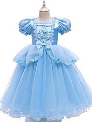 cheap -Ball Gown Ankle Length Flower Girl Dresses Party Satin Short Sleeve Square Neck with Bow(s)
