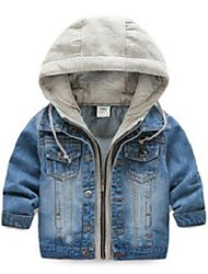 cheap -Kids Boys' Coat Blue Solid Color Cotton Basic Cool 2-12 Years