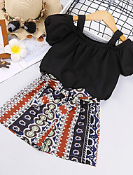 cheap -Kid's Girls' Clothing Set 2 Pieces Short Sleeve White Black Stripes Solid Color Cotton Fashion 3-8 Years / Summer