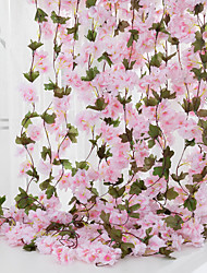 cheap -Cherry Blossom Rattan Wedding Decoration Simulation Flower Rattan Fake Flower Household Products Rattan Artificial flower vine fake flower household items cane hanging flowers