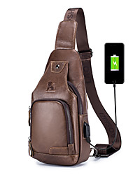 cheap -Men's Unisex Bags Nappa Leather Sling Shoulder Bag Vintage Daily Going out Retro Black Brown Coffee