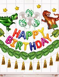 cheap -Cartoon Dinosaur Theme Birthday Party Aluminum Film Balloon Set Tyrannosaurus Aluminum Foil 12 Inch Round Sequined Balloon