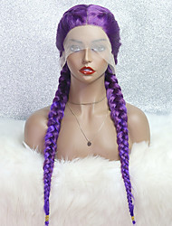 cheap -Synthetic Lace Wig Plaited Style 24 inch Purple With Bangs 4x13 Closure Wig Women's Wig Regency