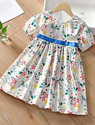 cheap -[100-140cm] girly sweet white floral short sleeve dress