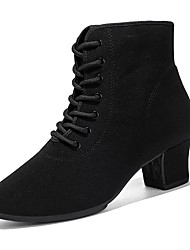 cheap -Women's Dance Boots Heel Lace-up Low Heel 3.5cm with two-point rubber sole 5cm with two-point rubber sole